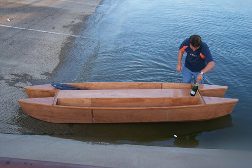 Wooden twin hull fishing kayak / unfinished