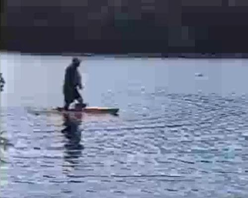 Walking on water, on the Charles river, Massachusetts