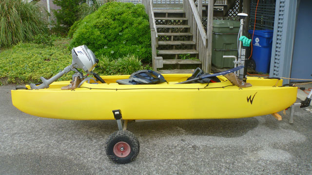 fishing kayak with outboard motor - oceanographic research