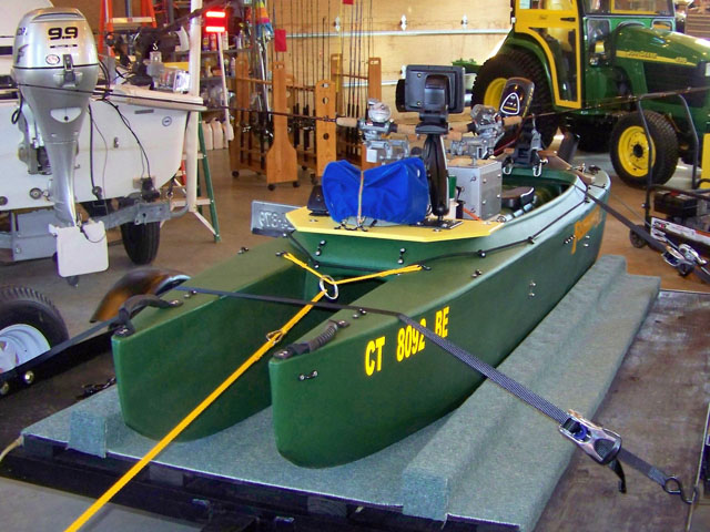 10. front view of high tech fishing kayak