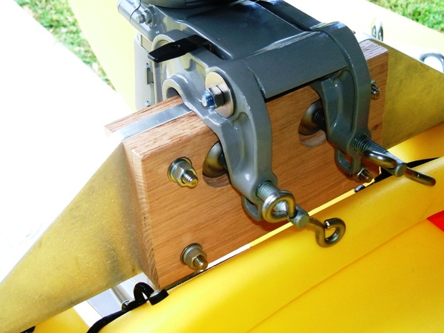 2hp outboard motor mounted on fishing kayak detail