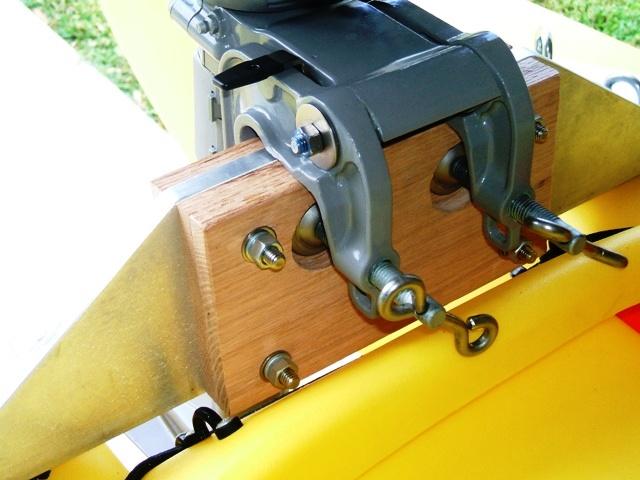2hp outboard motor mounted on fishing kayak detail
