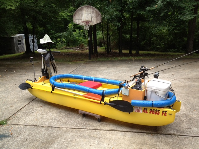 Fishing kayak rigged with electric trolling motor - Alabama