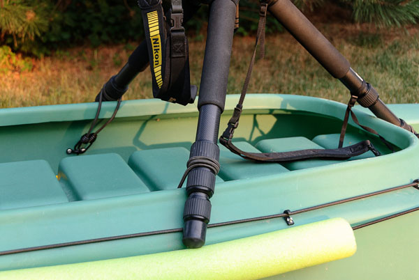 camera tripod mounted on stable kayak for photography (2)