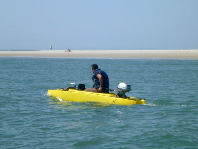 fishing kayak converted into oceanographic research boat