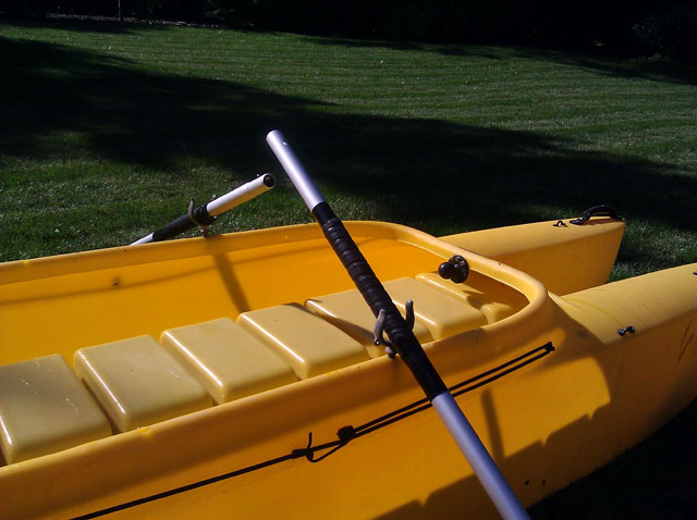 fishing kayak oars rowing position