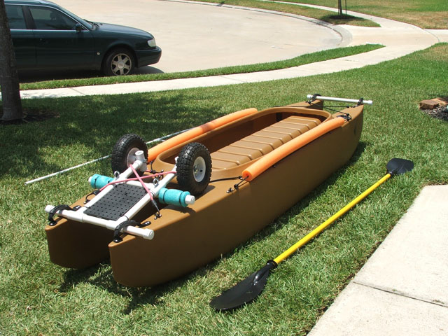 fishing kayak transportation wheels - up position