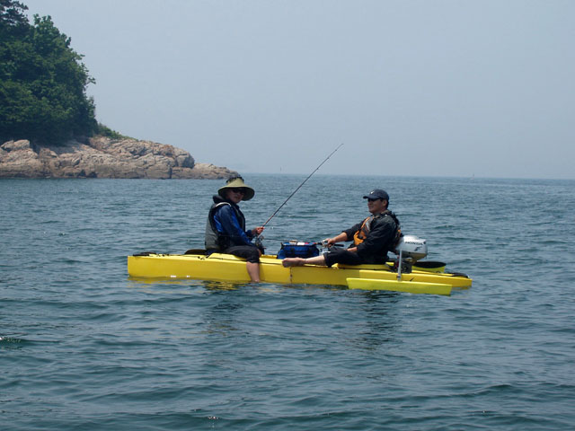 Two kayak fishermen in offshore trip