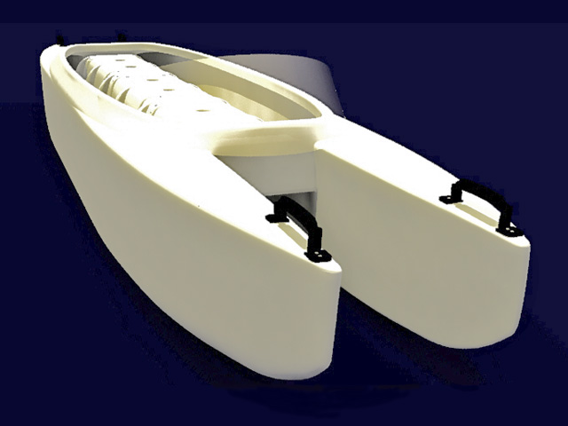 Microskiff in white with Spray Shield 640